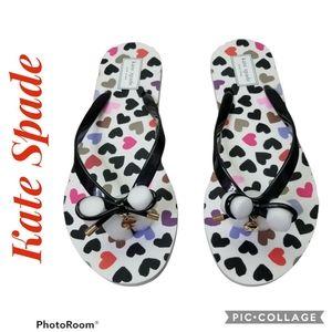 KATE SPADE Nova Colorful Heart Flip Flops Size 9M
